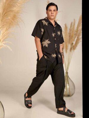Black shirt S21-Μ100Μ Loose fit linen pants S21-M302M - Dolce Domenica