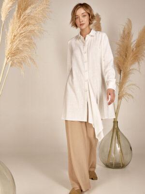 Linen long shirt S21-21605 - Dolce Domenica