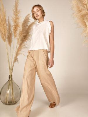 Linen blouze S21-21606L Linen high waisted pants S21-21304 - Dolce Domenica