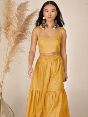 Linen crop top S21-21610L Linen ruffled skirt S21-21402K - Dolce Domenica