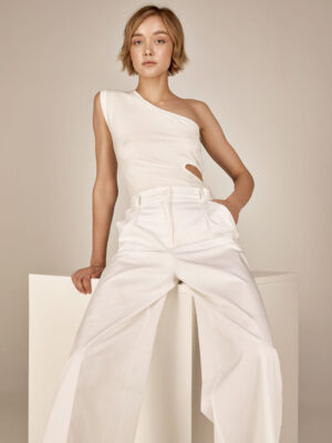 Ribbed crop top S21-21639 High waisted pants S21-21304K - Dolce Domenica